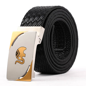 Men' s Leather Belt With Steel Buckle Black B9101  One Size