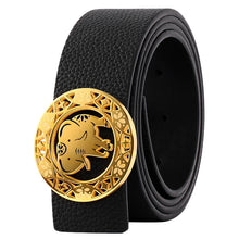 Load image into Gallery viewer, Elephant Garden Litchi Grain Leather Belt with Elephant Logo Buckle - Black -B8201