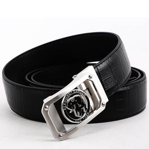 Elephant Garden Men's Crocodile Print Leather Belt with Automatic Logo Buckle  B8601