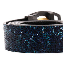 Load image into Gallery viewer, Elephant Garden Women & Men's Leather Belt With Black /Golden Logo Buckle Blue Black -B9103