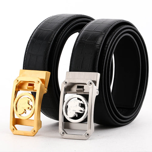 Men's Crocodile Print Leather Belt with Automatic Logo Buckle  B8601