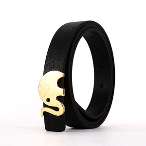 Elephant Garden Women's leather Belt With Golden buckle -Black - B7212