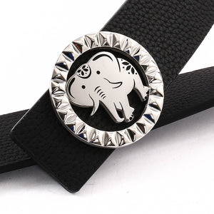 Elephant Garden Men's Litchi Grain Leather Belt with Steel Buckle-Black-B9111