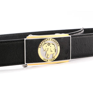 Elephant Garden Men's Ostrich Leather Belt with Golden Automatic Buckle Black B9815