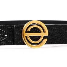 Load image into Gallery viewer, Women' s Leather Belt with Steel Buckle Black B9109