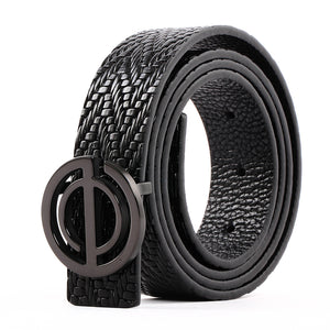 Women' s Leather Belt with Steel Buckle Black B9109