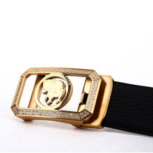 Load image into Gallery viewer, Elephant Garden Men's Classic Leather Belt with Golden Diamond Automatic Buckle -Black-B8202