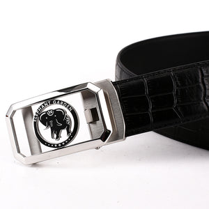 Elephant Garden Men's Crocodile Print Leather Ratchet Belt with Steel Automatic Buckle-Black-B7214