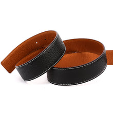 Load image into Gallery viewer, Elephant Garden Men's Leather Business Belt with Steel Pierced Buckle-Black-B7078