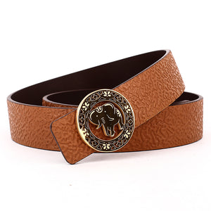 Elephant Garden Men's/Women's  Ambossed Leather Belt with Golden Logo Buckle-B7216