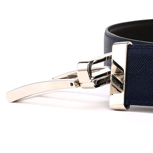 Elephant Garden Men's Reversible Cross Grain Leather Belt with Steel Buckle-B7077