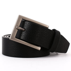 Elephant Garden Men's Litchi  Grain Leather Business Belt With Gift Box -Black-B7029
