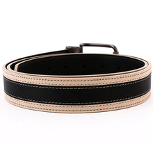 Load image into Gallery viewer, Elephant Garden Men's Classic Leather Belt Apricot Edge with Logo Buckle - B7208
