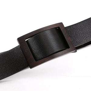 Elephant Garden Men's Classic Leather Belt with Sandal Buckle-Black-B7215