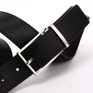 Elephant Garden Men's Leather Belt with Solid Buckle-Black-B7929