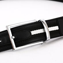 Load image into Gallery viewer, Elephant Garden Men's Classic Leather Belt with Fabric Inlay-B7211
