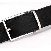 Load image into Gallery viewer, Elephant Garden Men's Leather Belt with Solid Buckle-Black-B7929