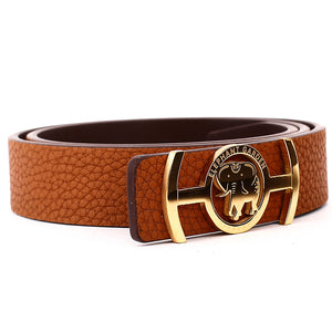 Elephant Garden Women's Leather Belt with Golden Logo Buckle-B7219