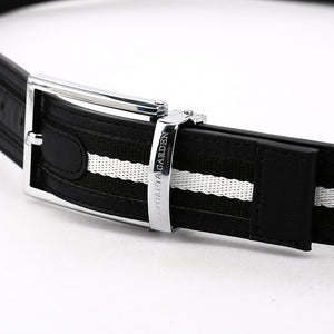 Elephant Garden Men's Classic Leather Belt with Fabric Inlay-B7211