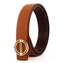 Load image into Gallery viewer, Elephant Garden Women's Dress Leather Belt with Golden Steel Buckle-B7217