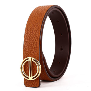 Elephant Garden Women's Dress Leather Belt with Golden Steel Buckle-B7217