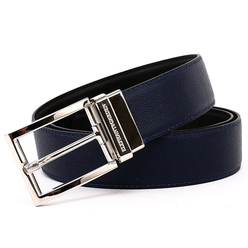 Men's Reversible Cross Grain Leather Belt with Steel Buckle-B7077