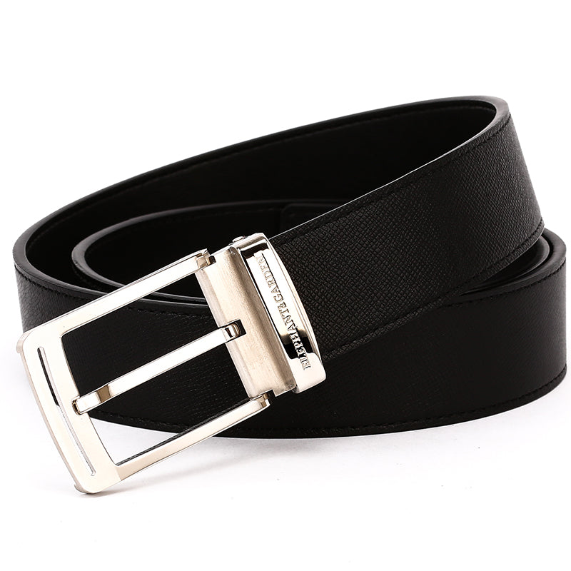 Elephant Garden Men's Leather Belt with Steel Logo Buckle-Black-B7079