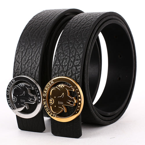 Elephant Garden Men's Embossed Leather Belt with Steel Logo Buckle-Black-B7218