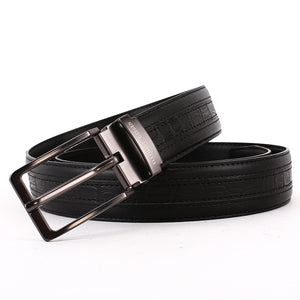 Elephant Garden Men's Classic Crocodile Print Leather Belt-Black-B7209