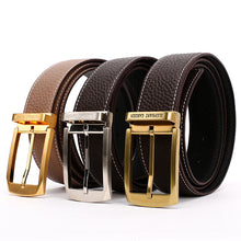 Load image into Gallery viewer, Elephant Garden Men's Litchi Grain Leather Belt with Logo Buckle-Black-B7027