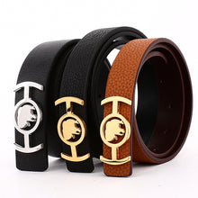 Load image into Gallery viewer, Elephant Garden Women's Leather Belt with Golden Logo Buckle-B7219