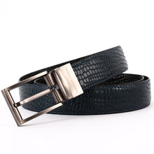 Load image into Gallery viewer, Elephant Garden Men's Crocodile Print Leather Belt with Steel Buckle-Black-B7028