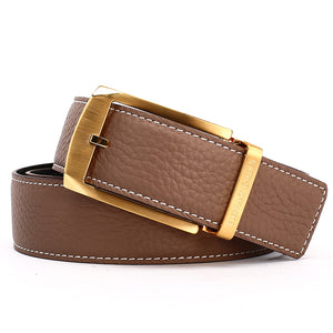 Elephant Garden Men's Litchi Grain Leather Belt with Logo Buckle-Black-B7027