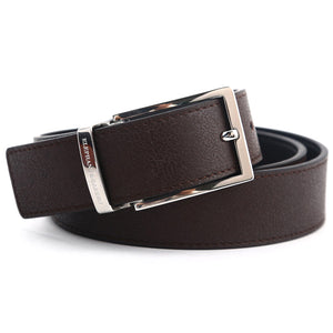 Elephant Garden Men's Smooth Leather Belt with Steel Logo Buckle-B7927