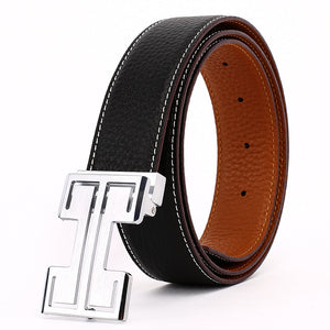 Elephant Garden Men's Leather Business Belt with Steel Pierced Buckle-Black-B7078