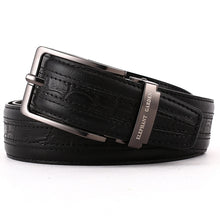 Load image into Gallery viewer, Elephant Garden Men's Classic Crocodile Print Leather Belt-Black-B7209