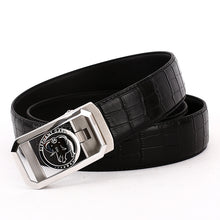 Load image into Gallery viewer, Elephant Garden Men's Crocodile Print Leather Ratchet Belt with Steel Automatic Buckle-Black-B7214