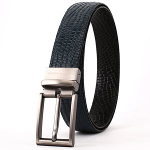 Elephant Garden Men's Crocodile Print Leather Belt with Steel Buckle-Black-B7028