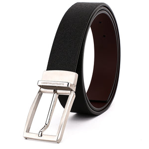 Elephant Garden Men's Reversible Cross Grain Leather Belt with Steel Buckle-Black-B7017