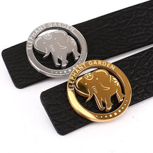 Load image into Gallery viewer, Elephant Garden Men's Embossed Leather Belt with Steel Logo Buckle-Black-B7218