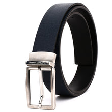 Load image into Gallery viewer, Elephant Garden Men's Reversible Cross Grain Leather Belt with Steel Buckle-Black-B7017