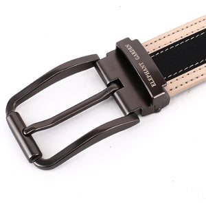 Elephant Garden Men's Classic Leather Belt Apricot Edge with Logo Buckle - B7208