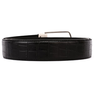 Elephant Garden Men's Crocodile Print Leather Belt with Steel Buckle-Black-B7018