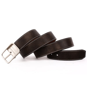 Men's Reversible Belt with Metal Buckle-Coffee-B7202