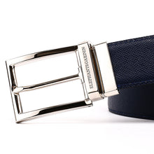 Load image into Gallery viewer, Elephant Garden Men's Reversible Cross Grain Leather Belt with Steel Buckle-B7077