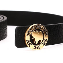 Load image into Gallery viewer, Elephant Garden Men's/Women's  Ambossed Leather Belt with Golden Logo Buckle-B7216