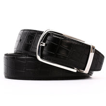 Load image into Gallery viewer, Elephant Garden Men's Crocodile Print Leather Belt with Steel Buckle-Black-B7018