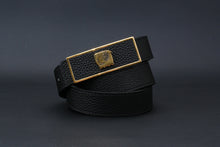 Load image into Gallery viewer, Elephant Garden Women's Litchi Grain Leather Belt with Graffiti-Logo Plate Buckle Black-B6218
