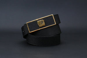 Elephant Garden Women's Litchi Grain Leather Belt with Graffiti-Logo Plate Buckle Black-B6218