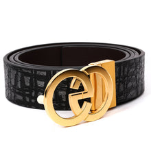 Load image into Gallery viewer, Men's Leather Belt with EG Buckle Black B9810 With Free Gift One Size